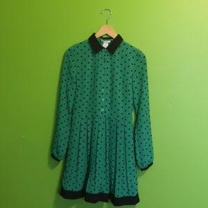 Pleated Green Polka Dot Dress Size Small